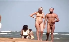 Blonde wife on nudist beach exposed