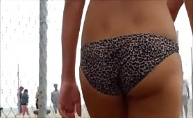 Girl in animal print bikini