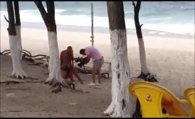 Spying a porn movie set on beach
